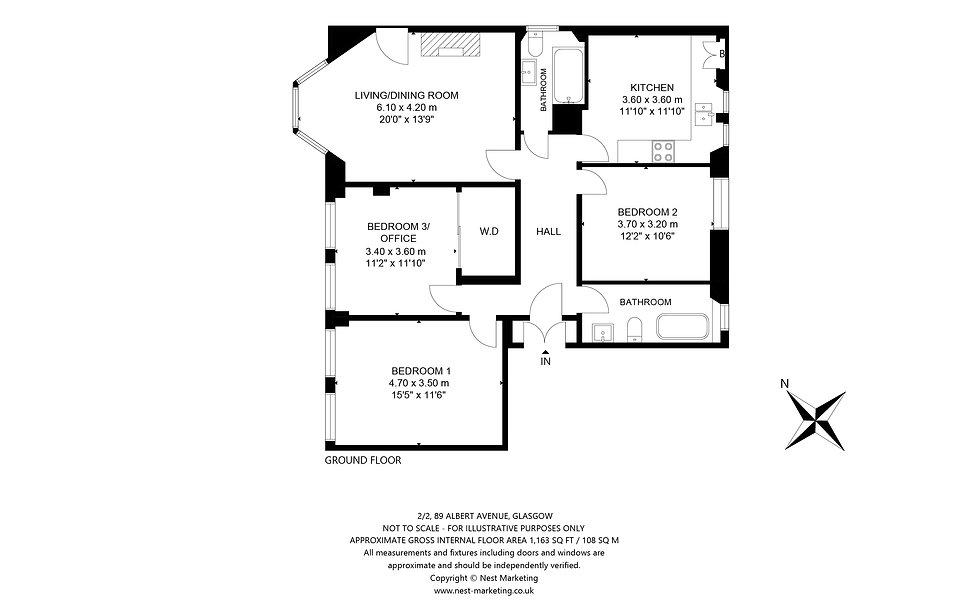 2-2 89 Albert Avenue, Glasgow Floorplan.