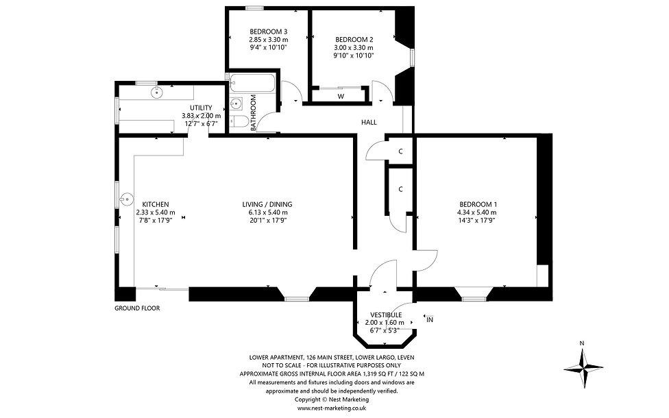 Lower Apartment, 126 Main Street, Lower Largo - Floorplan.jpg