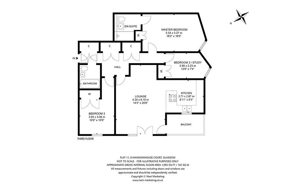 Flat 11, 8 Mansionhouse Court, Glasgow - Floorplan.jpg