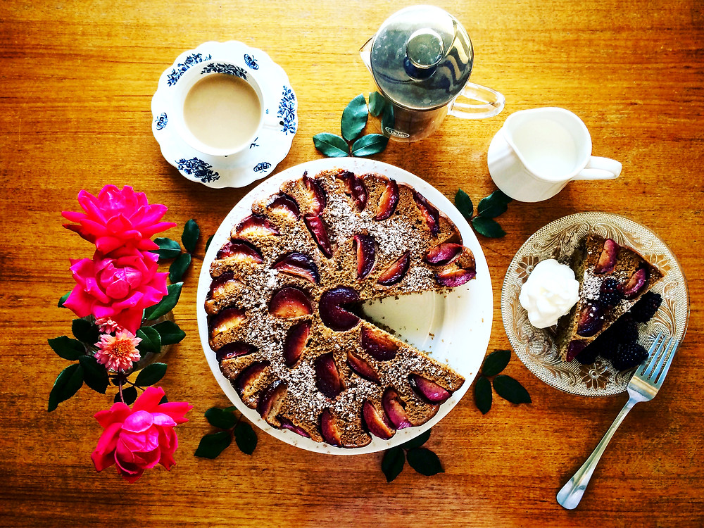 Olive Oil Plum Cake Fork and Page Brunch Recipe