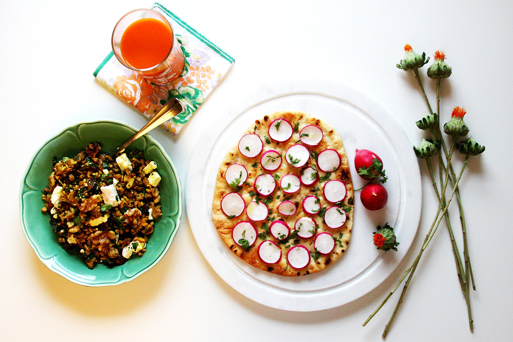 Fork and Page Sunday Brunch Radish Flatbread and Farror Salad