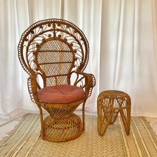 Stella Chair and Rattan Stool