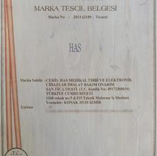 HAS MARKA TESCİL BELGESİ