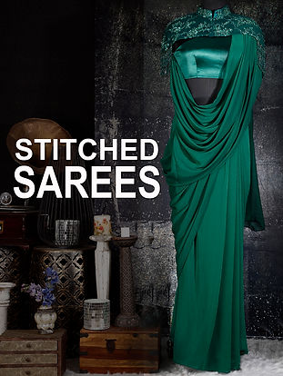 Indo western Stitched, ready to wear sarees in different colours and styles. Embroidered blouses.