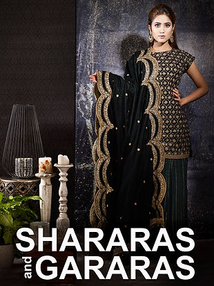Buy embroidered layered and flaired Sharas and Gararas.