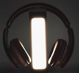 world premiere audio by light. Audio Li-Fi by SLUX. Wireless headphone by light.