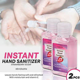 60ml 2oz Hand Sanitizer Gel -Strawberry Scent- w/Moisturizer&Vitamin E (2 Pack)
