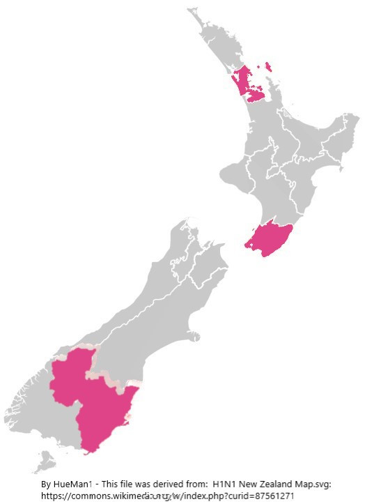 Covid-19 Coronavirus map of New Zealand