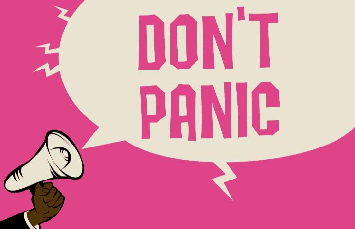 don't panic loudspeaker speech bubble