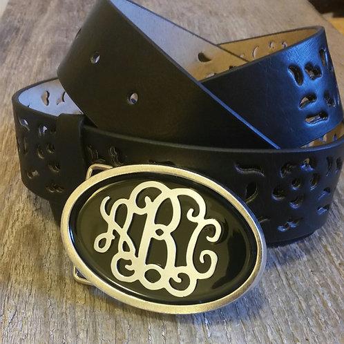 Oval Enamel Monogram Belt Buckle*