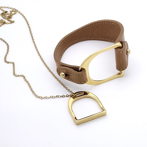 Bridle Leather Stirrup Cuff and Necklace Gift Set