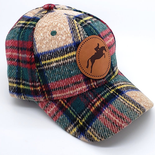 Plaid Leather Patch Cap