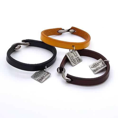 Love Pendant Leather Bracelet