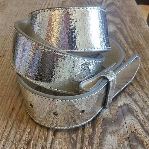 Crackled Metallic Belt