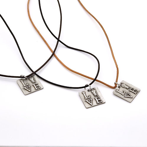 Love Pendant Leather Cord Necklace