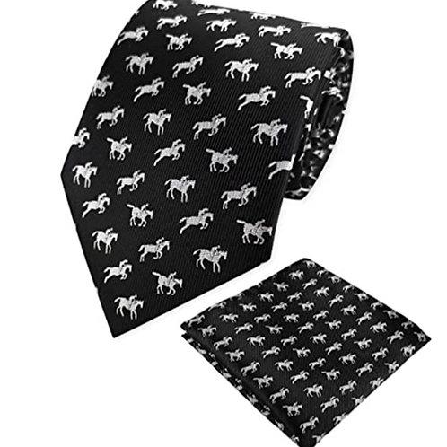 Horses in Motion Tie & Pocket Square Set