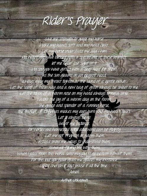 Rider's Prayer Poster