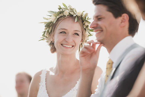 floral crown at wedding, bride and groom, london wedding photographer, weddings by Martin Sylvester, wedding photography