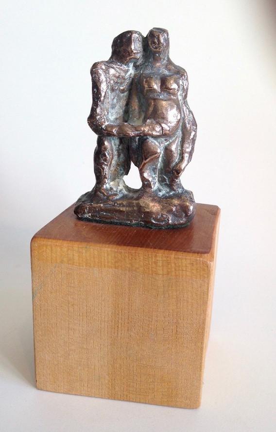 Bronze Couple on Wood