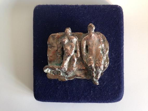 Floating Figures Bronze Relief