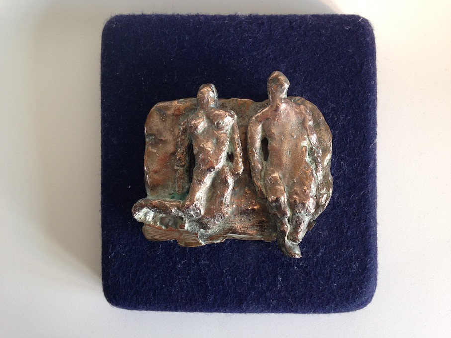 Floating Figures Bronze Relief