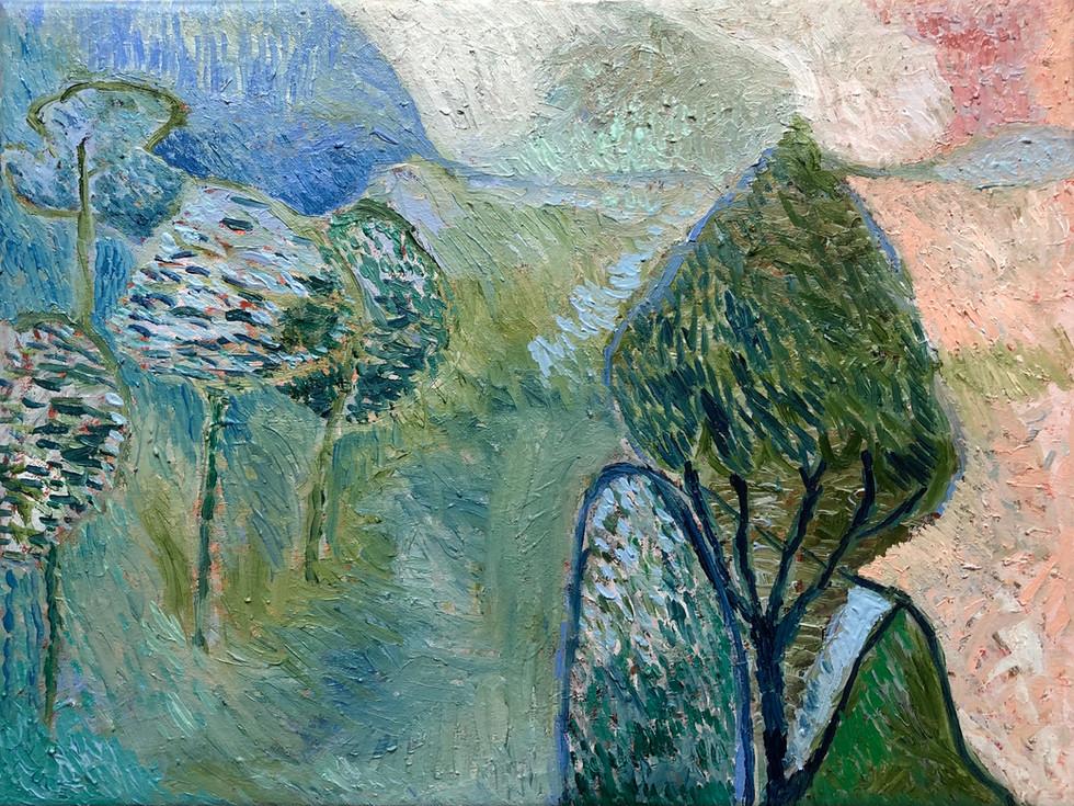 Pink Lanscape,Oil on linen,40x30cm .jpg