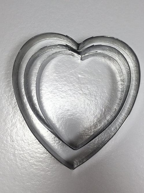 Набор форм резак сердце размер 8,10,12 высота 2см