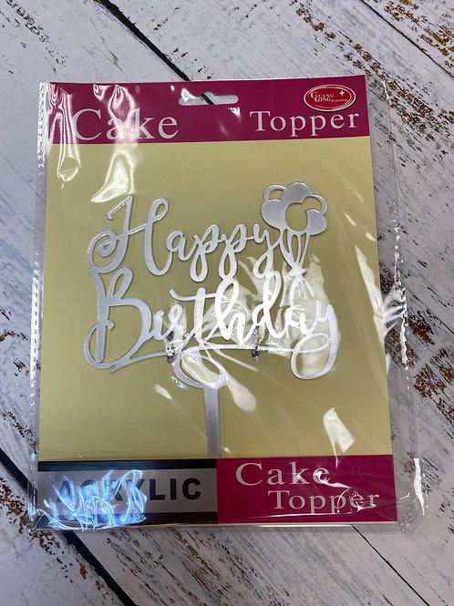 Топпер пластик серебро/золото «Happy Birthday»