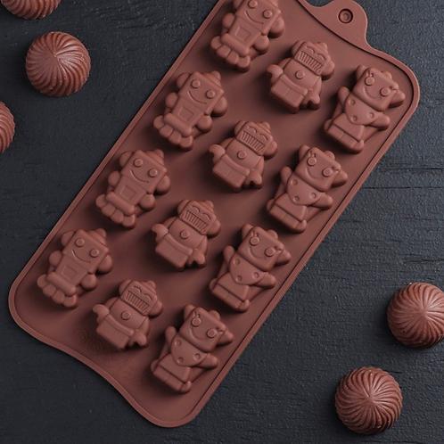 Форма силиконовая для шоколада «Роботы»