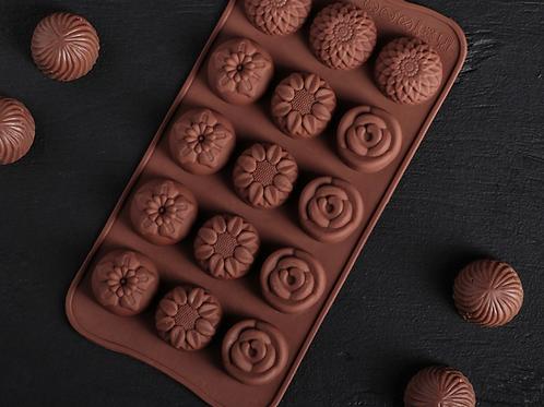 Форма силиконовая для шоколада «Цветочки»