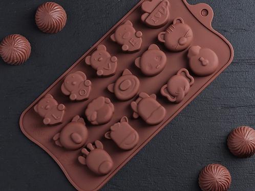 Форма силиконовая для шоколада «Мордашки»