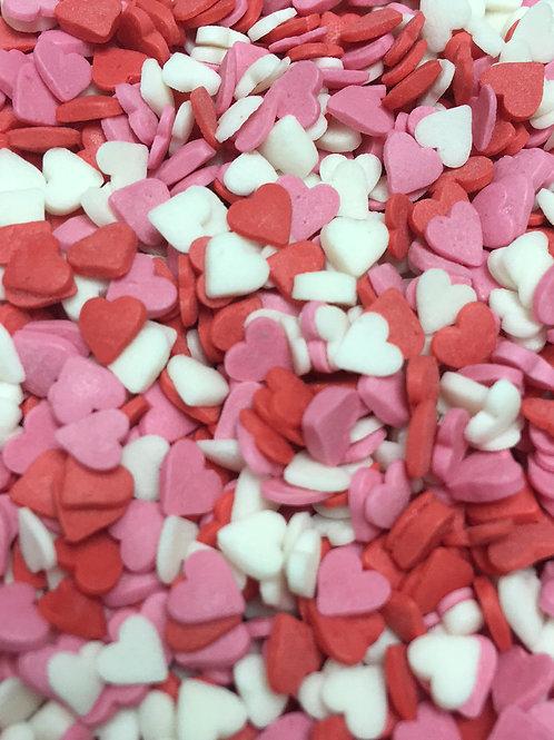 Посыпка сердечки красные/белые/розовые мини 150 гр.
