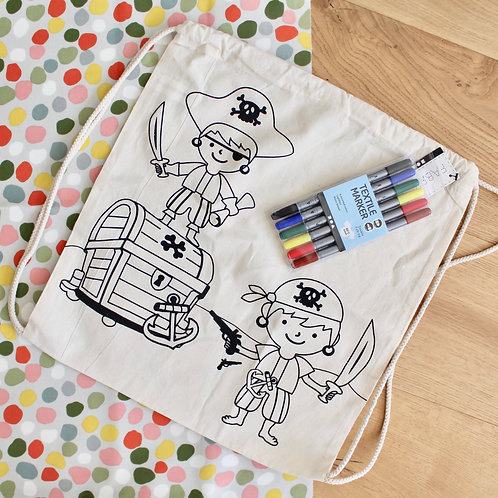 Colouring Kit- Pirate Drawstring Bag