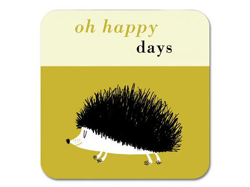 Happiness Hedgehog Coaster - Olive