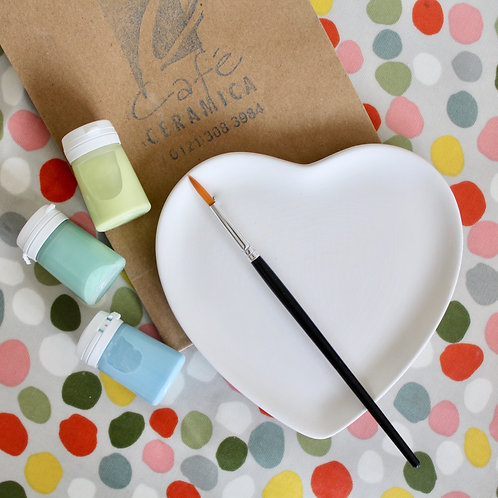 Small Heart Plate Painting Kit