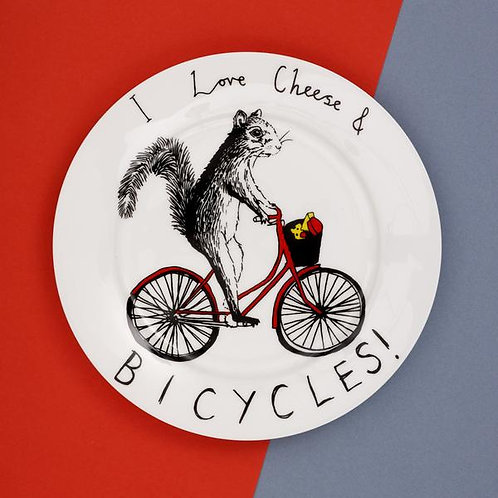 I love cheese & bicycles side plate