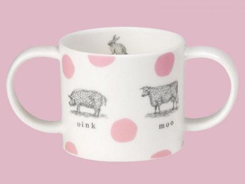 Farmyard Christening Mug - Pink
