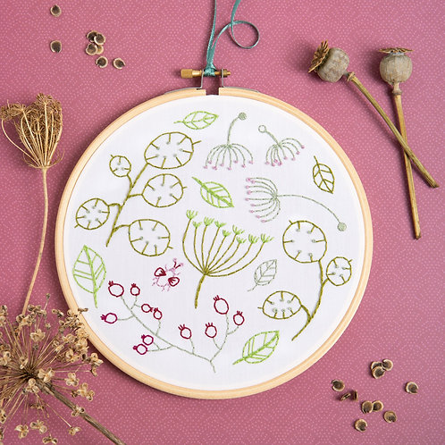 Seed head spray white Embroidery Kit
