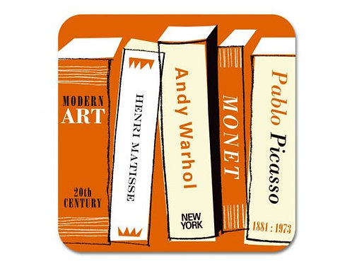 Art Books Coaster Orange