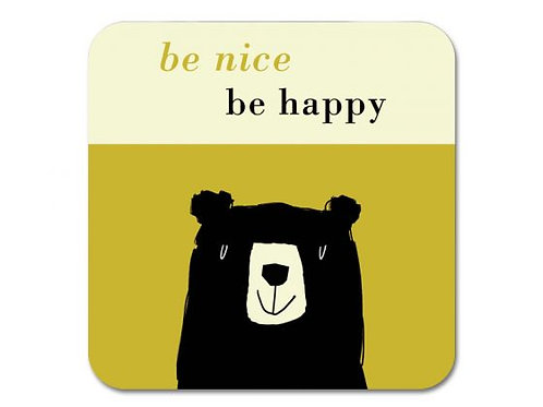 Happiness Bear Coaster - Olive