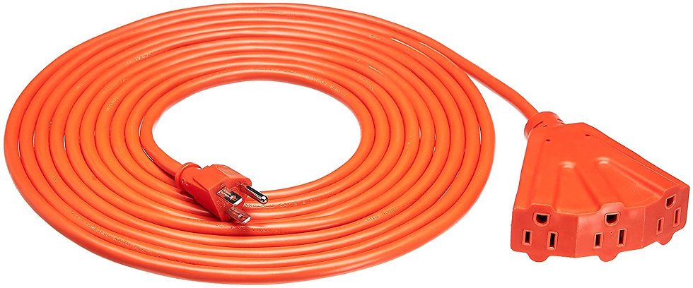 16/3 Outdoor Extension Cord w 3 Outlets - 20ft Orange