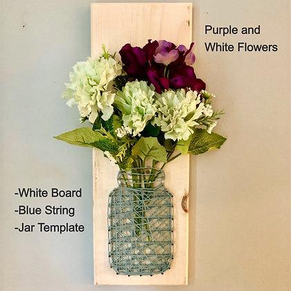 Jar/Vase String Art w/Silk Flowers