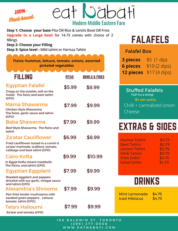 menu, falafel, shawarma, eggplant, egyptian food, kofta, vegan, halloumi