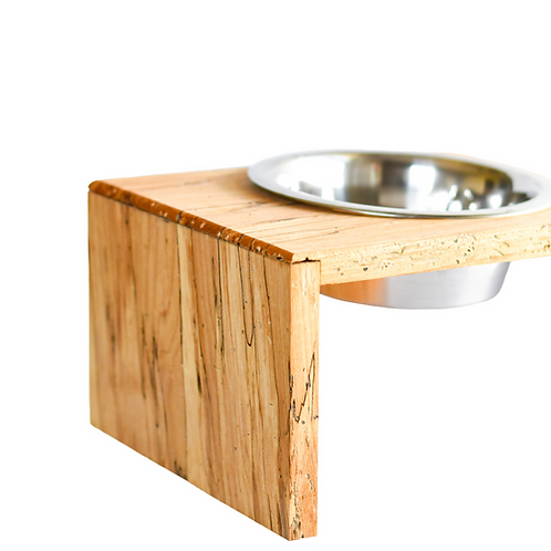 SPALTED ELM PET DISH STAND