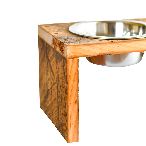 RECLAIMED BARN WOOD PET DISH STAND