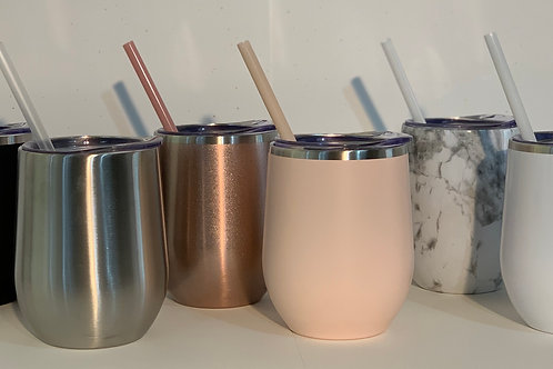 Steel tumbler with straw + lid