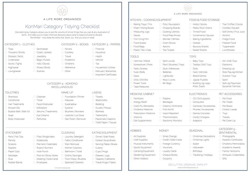 KonMari Decluttering Checklist