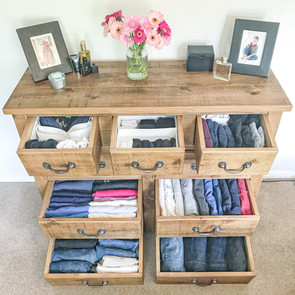 KonMari folded clothes in chest of drawers