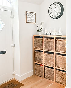 Organised Hallway Storage Baskets Spark Joy Sign