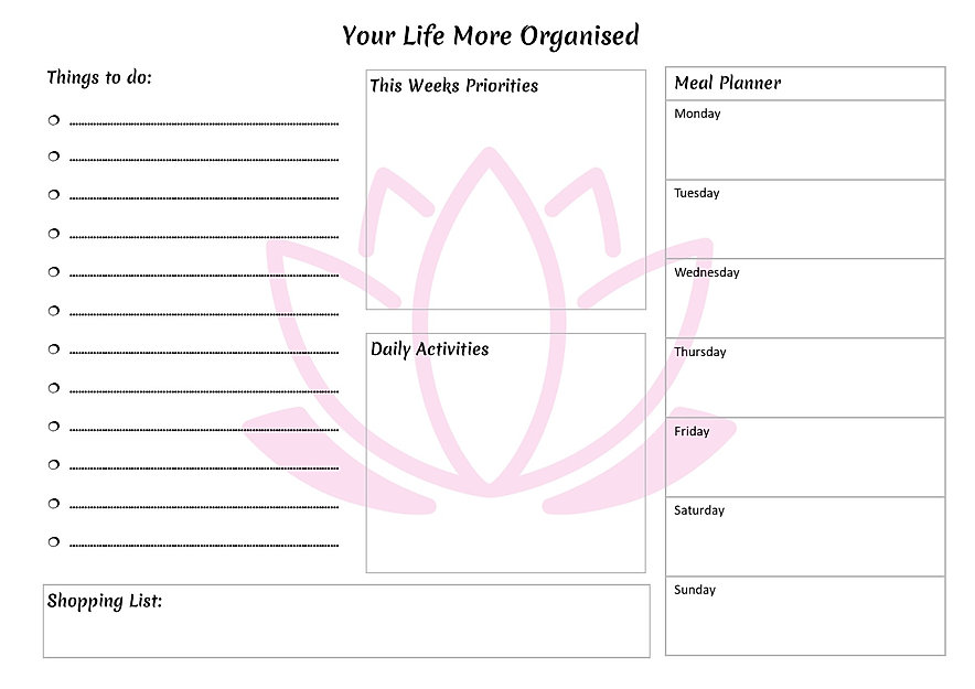 A Life More Organised Weekly Planner